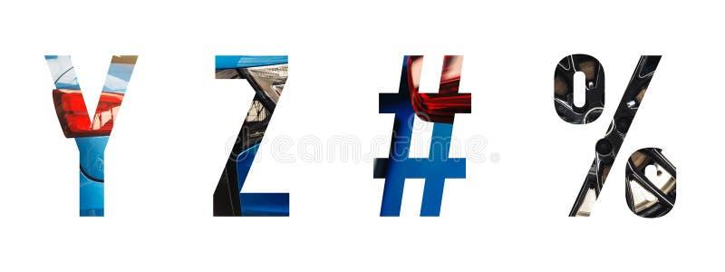 Alfabeto automotriz y, z de la fuente, #, % stock de ilustración