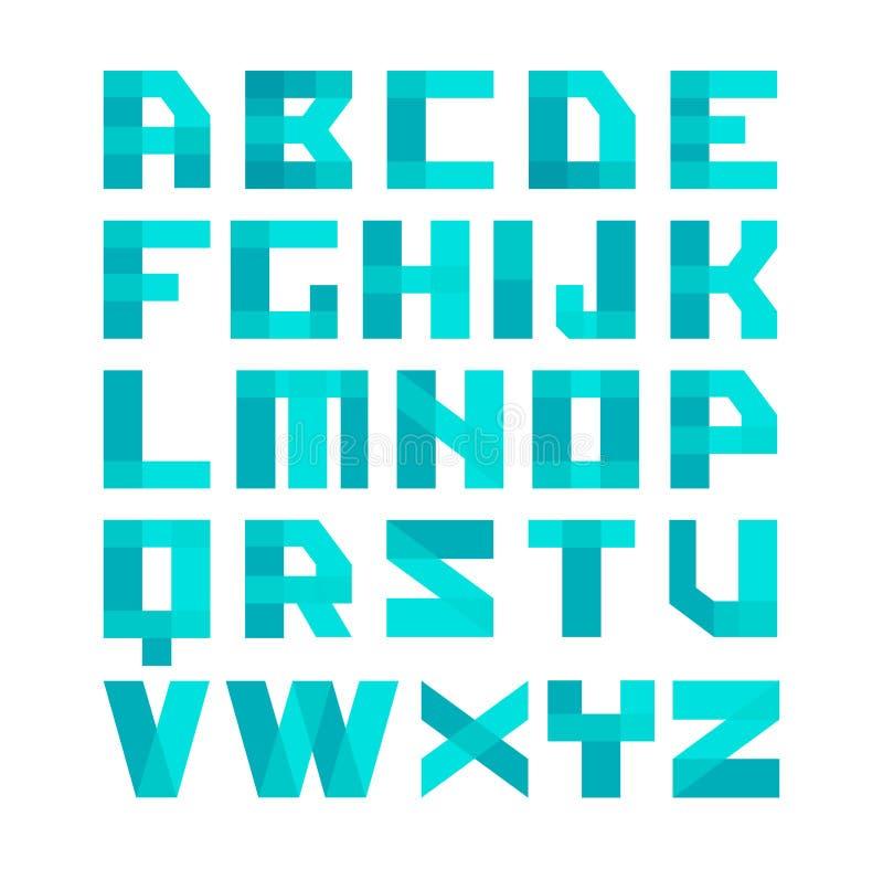 Alfabeto azul da fonte das formas geométricas Letras transparentes do estilo da folha de prova Capacidade fácil do matiz da cor ilustração royalty free