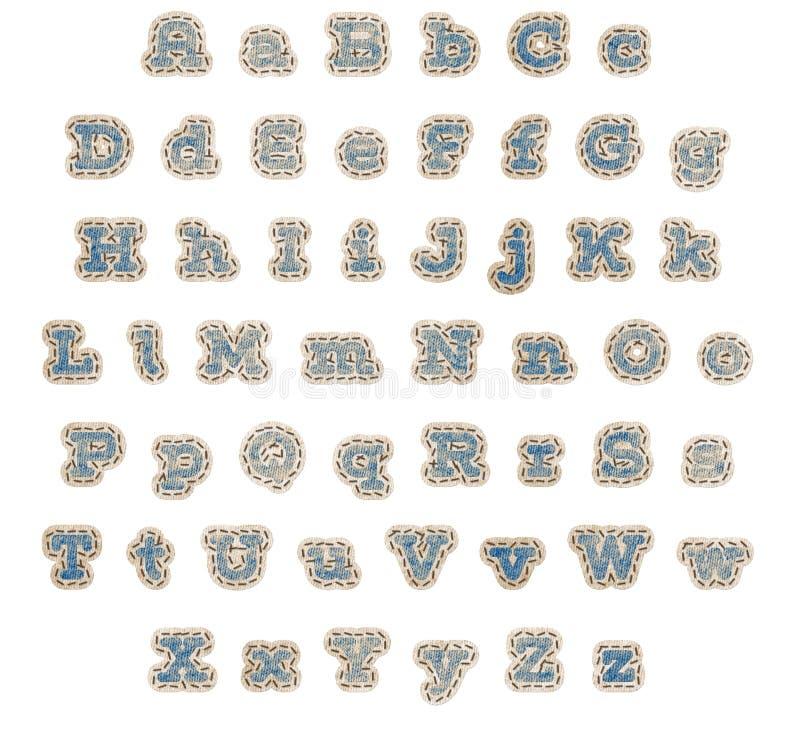 Alfabeto azul do remendo da sarja de Nimes ilustração stock