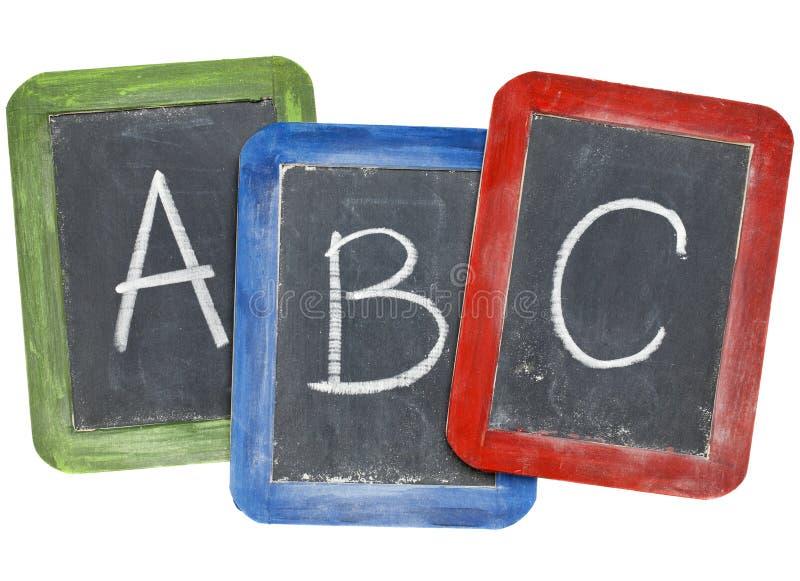 Alfabeto (A, B, C) en las pizarras fotos de archivo