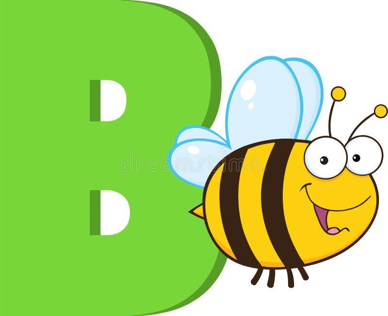 Alfabeto-b divertente del fumetto con l'ape illustrazione vettoriale