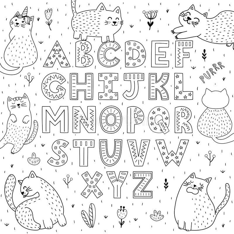 Alfabeto in bianco e nero con i gatti divertenti Pagina di coloritura di ABC illustrazione vettoriale