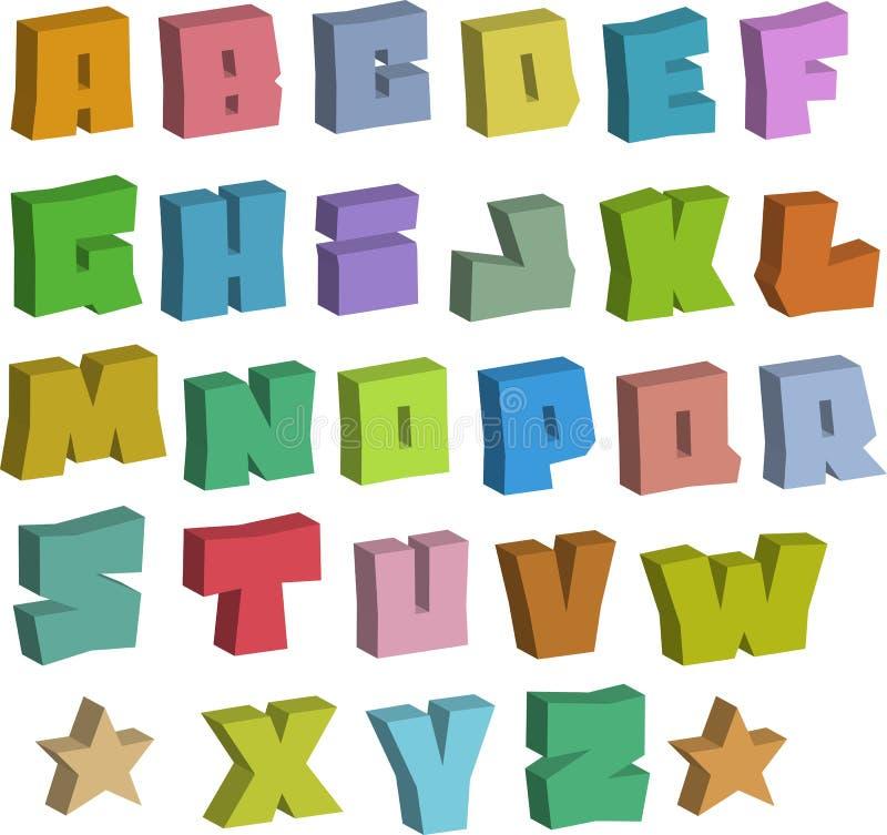 alfabeto blocky de las fuentes del color de la pintada 3D sobre blanco ilustración del vector