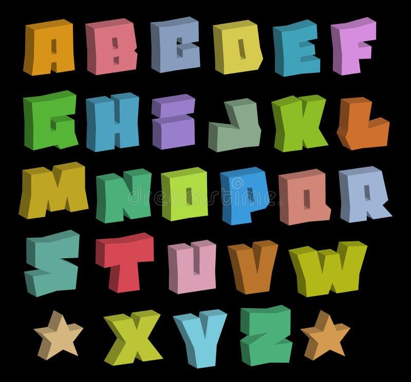 alfabeto blocky de las fuentes del color de la pintada 3D sobre negro stock de ilustración