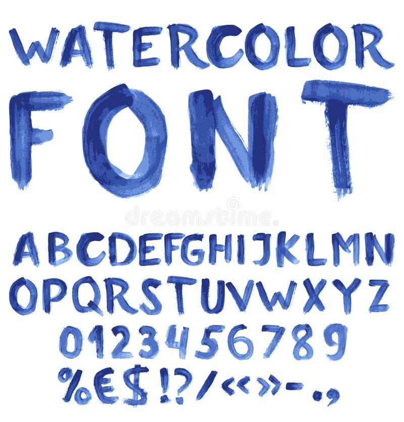 Alfabeto blu scritto a mano dell'acquerello royalty illustrazione gratis