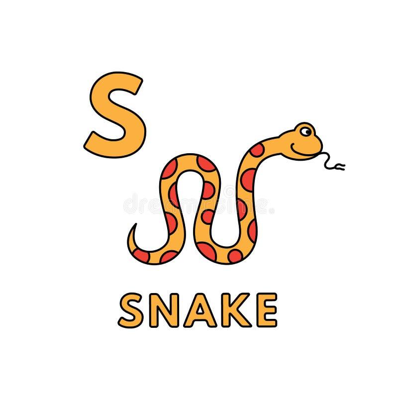 Alfabeto bonito dos animais dos desenhos animados do vetor Ilustra??o da serpente ilustração royalty free