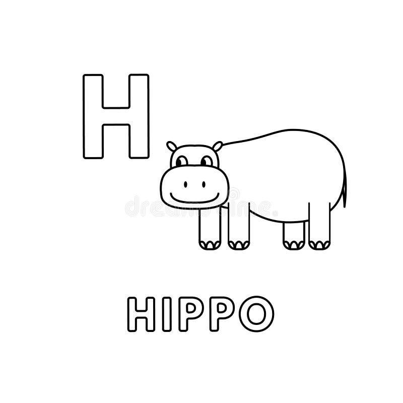 Alfabeto bonito dos animais dos desenhos animados do vetor Páginas da coloração do hipopótamo ilustração stock