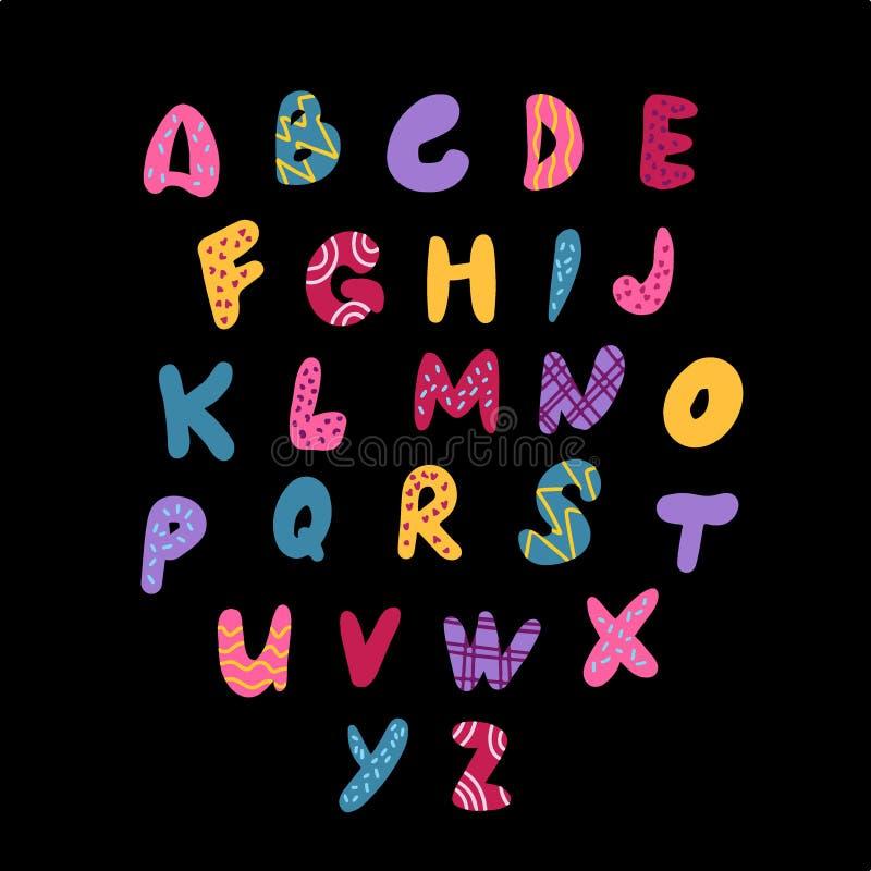 Alfabeto bonito dos doces Fonte criançola da cor de DIY ilustração royalty free