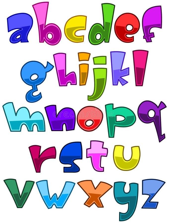 Alfabeto brilhante da caixa baixa dos desenhos animados ilustração stock
