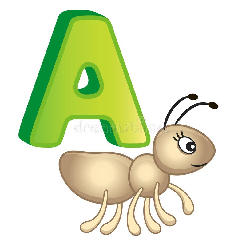 Alfabeto brilhante das ilustrações do vetor com letras principais dos animais e das coisas ingleses e bonitos dos desenhos animad ilustração do vetor