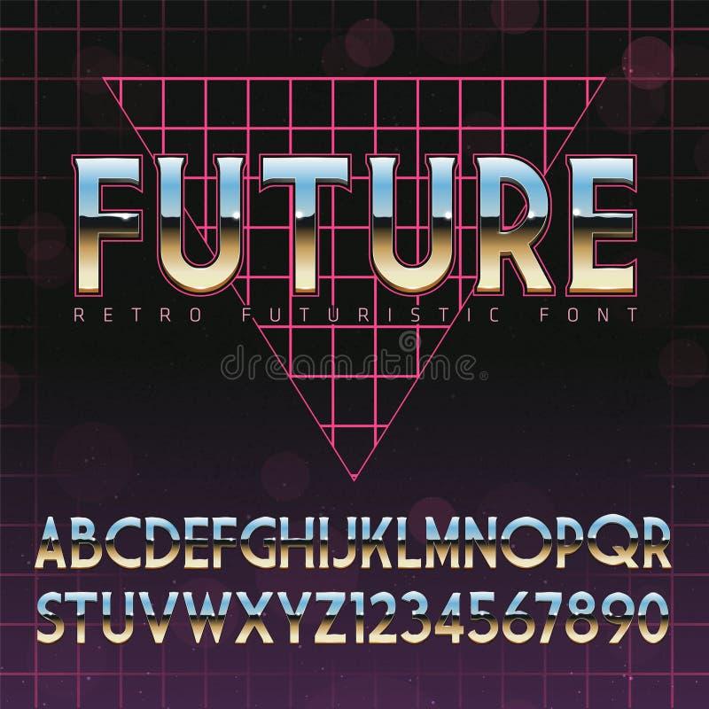 Alfabeto brilhante de Chrome no estilo retro do futurismo 80s ilustração do vetor