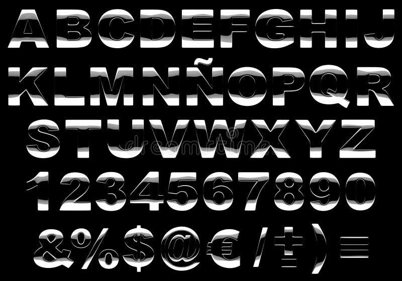alfabeto brilhante do metal 3d isolado ilustração do vetor