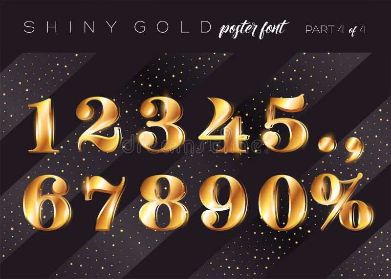 Alfabeto brillante dell'oro di vettore Carattere metallico realistico royalty illustrazione gratis