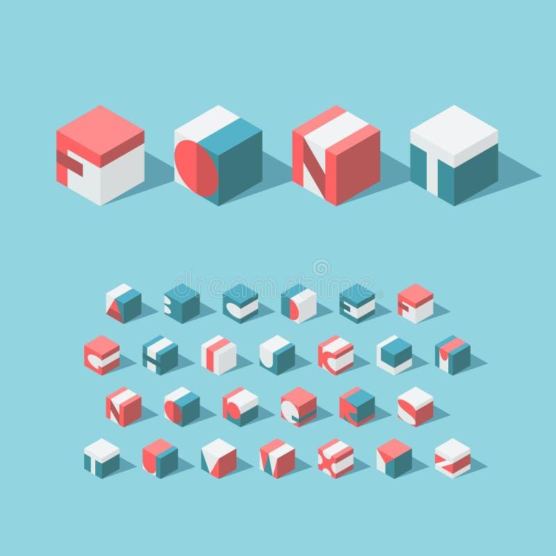 Alfabeto cúbico isométrico del vector Tipografía latina libre illustration
