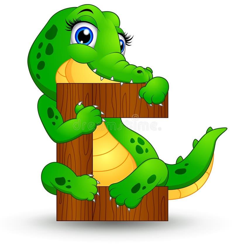 Alfabeto C con il fumetto del coccodrillo illustrazione di stock
