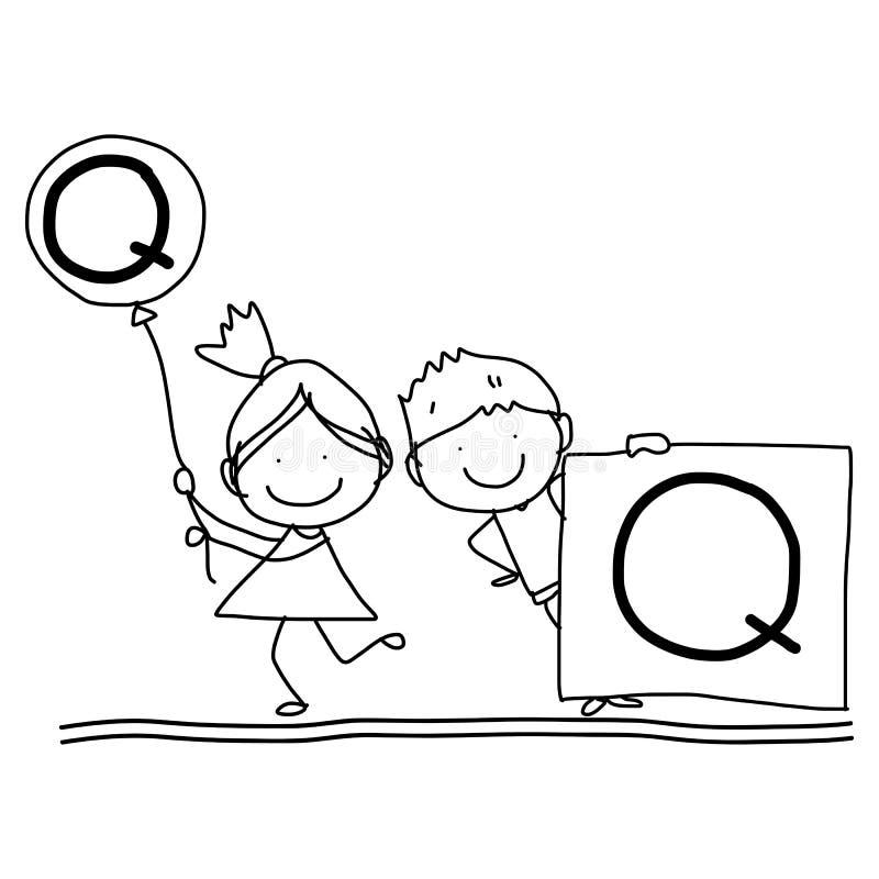 Alfabeto C da felicidade dos desenhos animados do desenho da mão ilustração stock