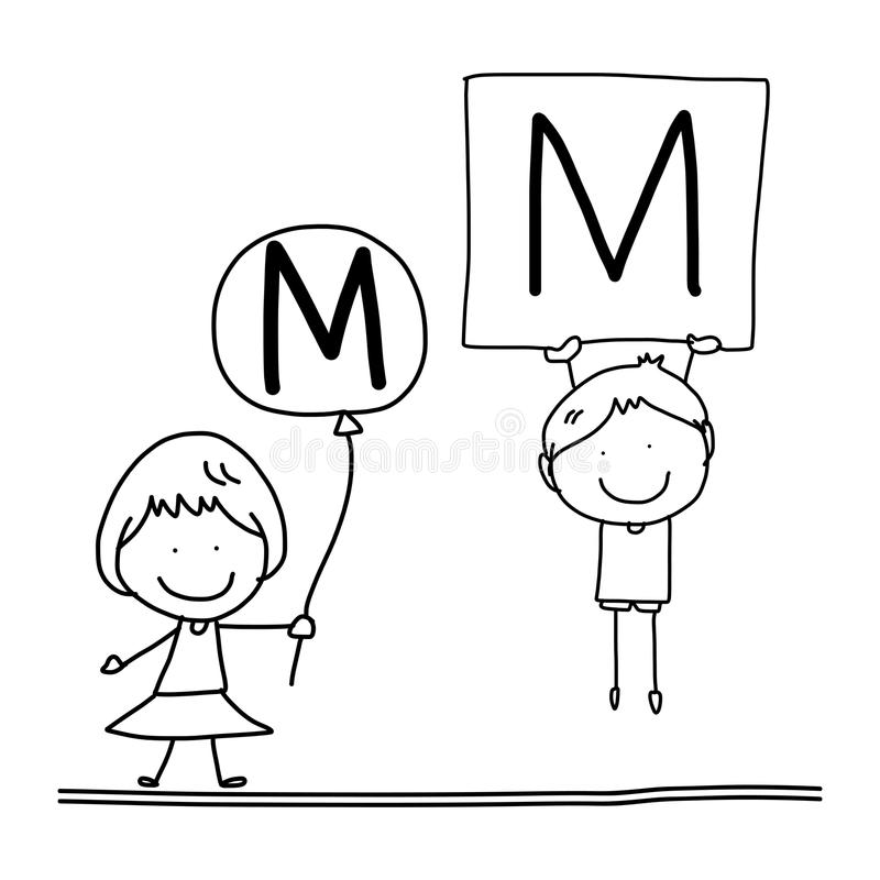 alfabeto c da felicidade dos desenhos animados do desenho da mão