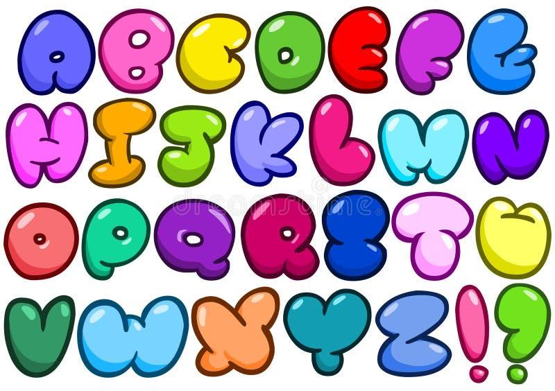 Alfabeto cômico da bolha ilustração royalty free