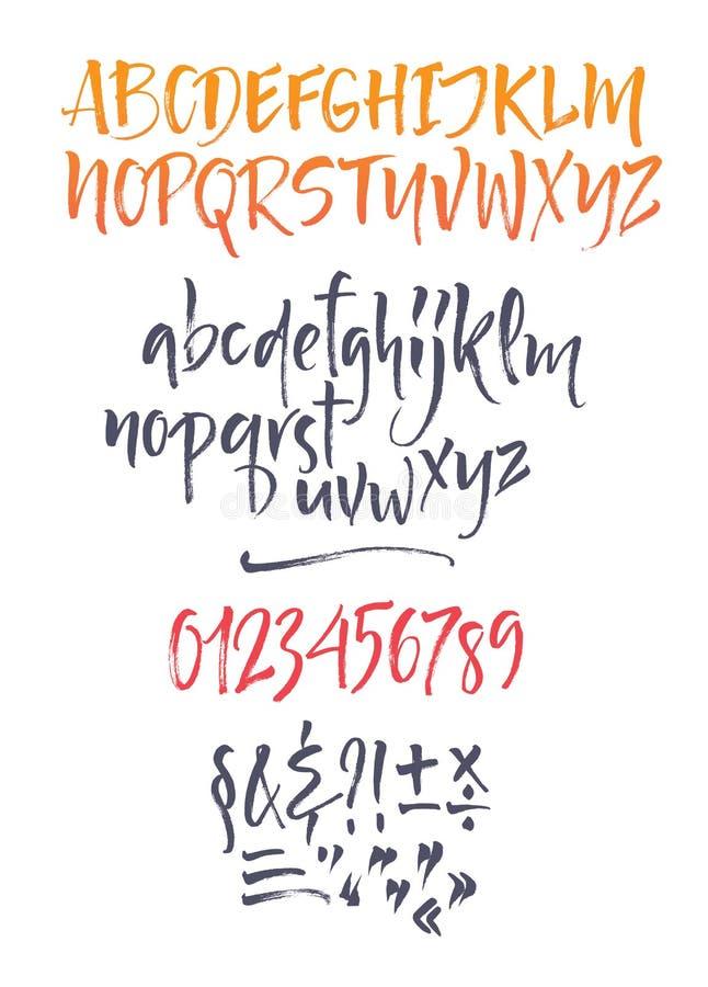 Alfabeto caligráfico do vetor escrito com escova macia ilustração royalty free