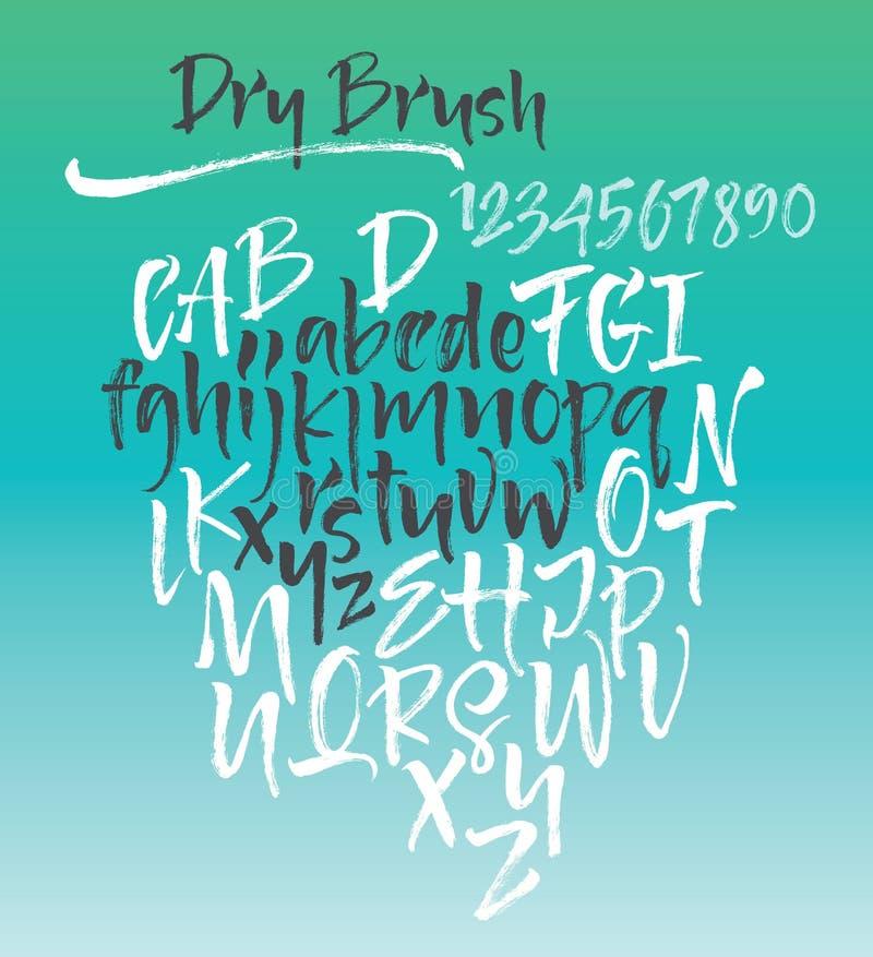 Alfabeto caligráfico do vetor escrito com escova macia ilustração stock
