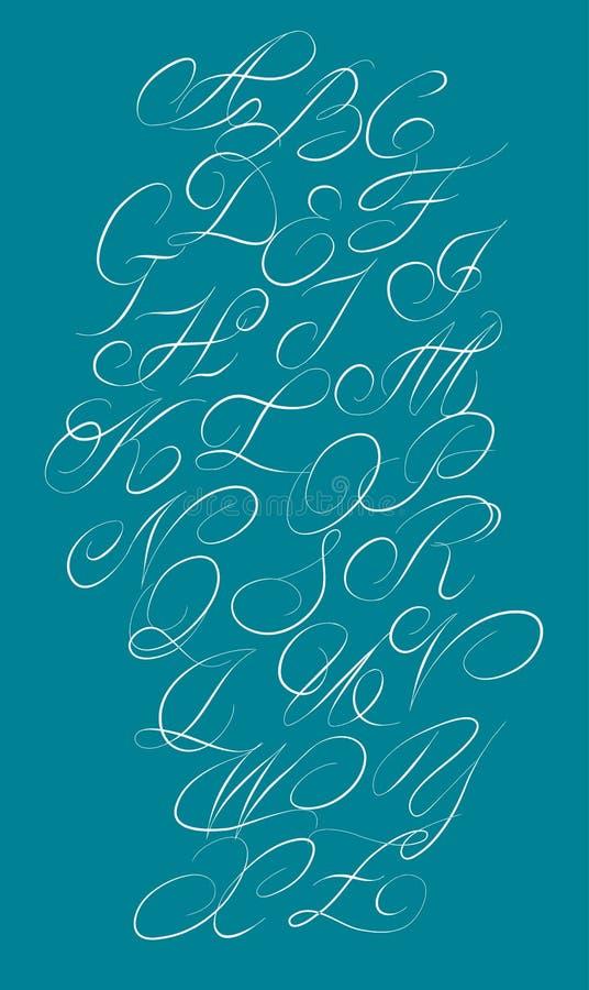 Alfabeto caligráfico Elementos del diseño stock de ilustración
