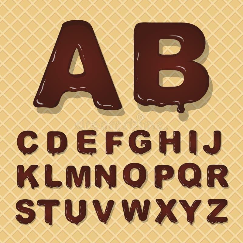 Alfabeto capital latino del vector hecho del chocolate Estilo de fuente ilustración del vector
