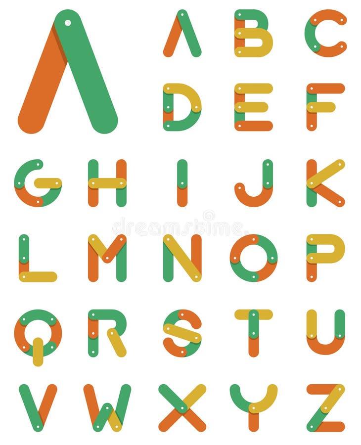 Alfabeto a catena nella progettazione piana illustrazione vettoriale