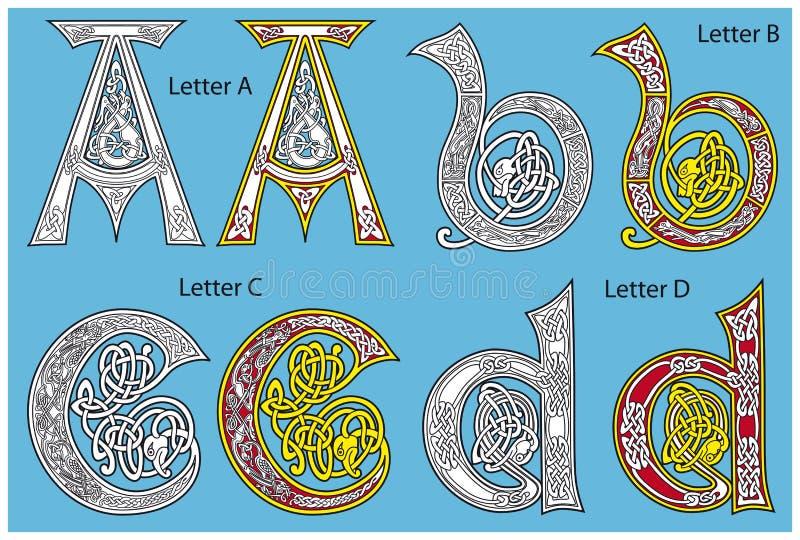 Alfabeto celtico antico fotografia stock libera da diritti