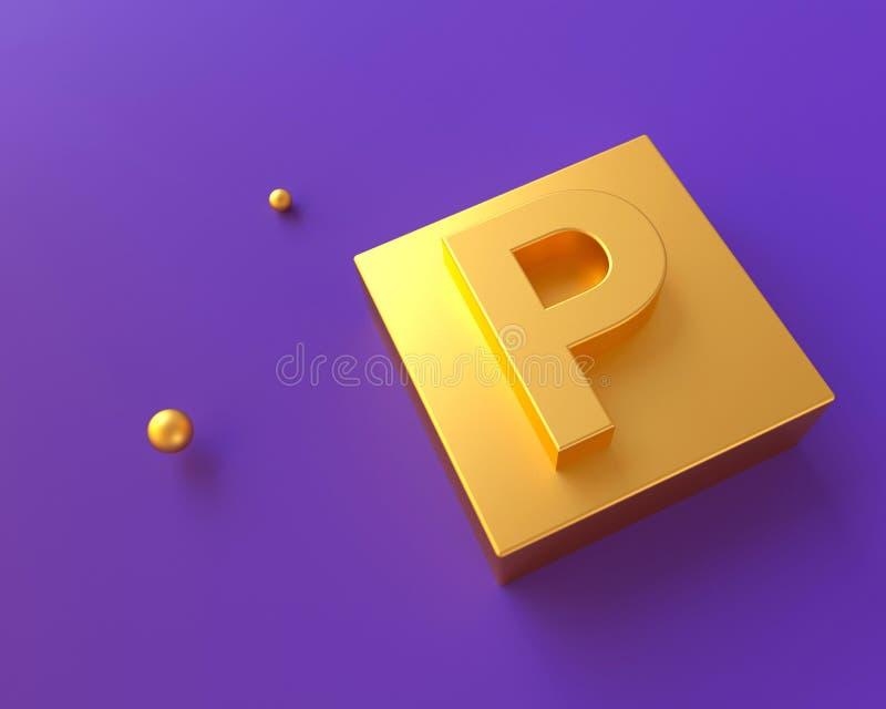 Alfabeto che segna concetto con lettere l'oro 3D realistico rende fotografia stock