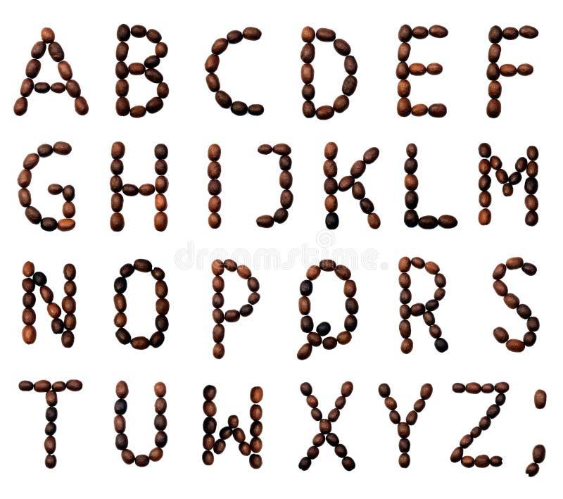 Alfabeto (chicchi di caffè) fotografie stock libere da diritti