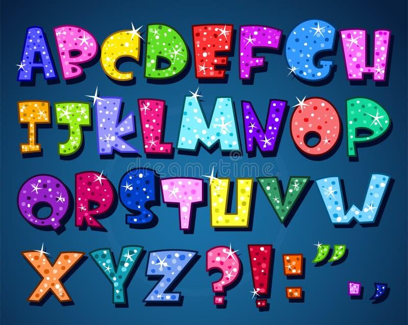 Alfabeto chispeante stock de ilustración