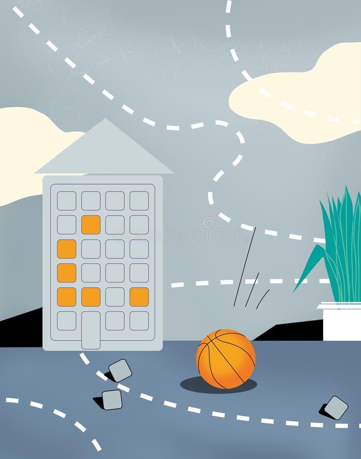 Alfabeto cirílico do alfabeto da aptidão Saltar em queda livre cinzento com nuvens Uma casa sob a forma de um comunicador Uma bol ilustração stock