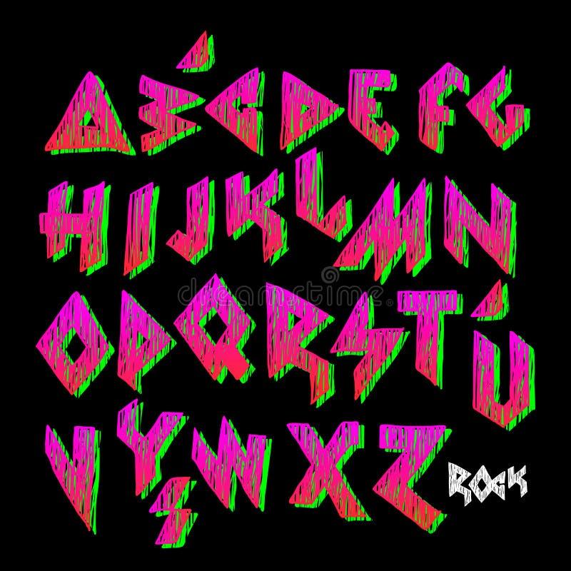 Alfabeto colorido criativo, estilo da rocha ilustração do vetor