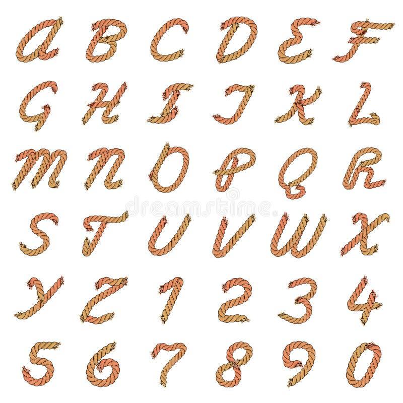 Alfabeto colorido da corda do vetor ilustração stock