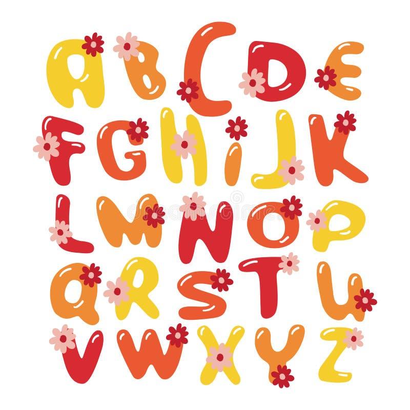 Alfabeto colorido de la fuente de las flores del vector stock de ilustración