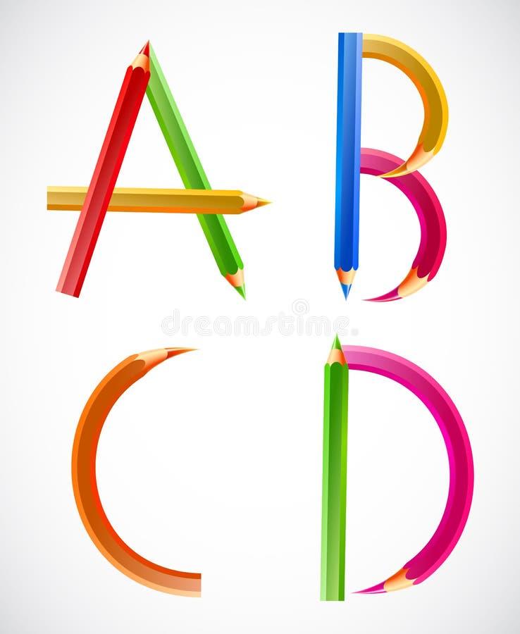 Alfabeto colorido de los lápices (A, B, C, D). Vector stock de ilustración