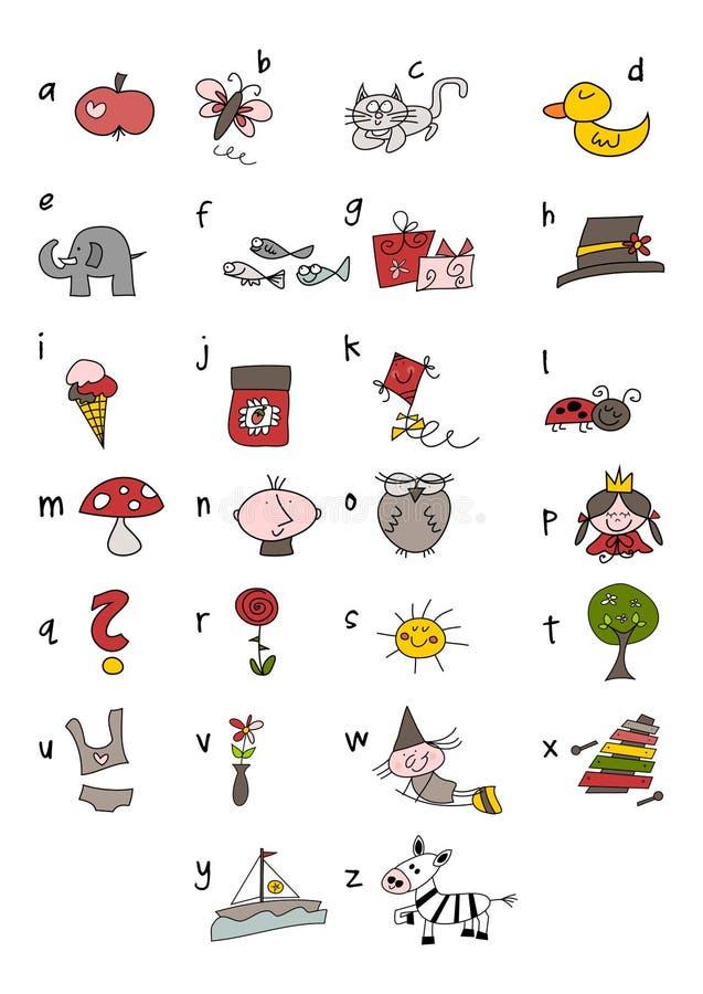 Alfabeto colorido del doodle ilustración del vector