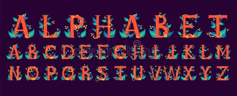 Alfabeto colorido Design floral da letra ilustração stock