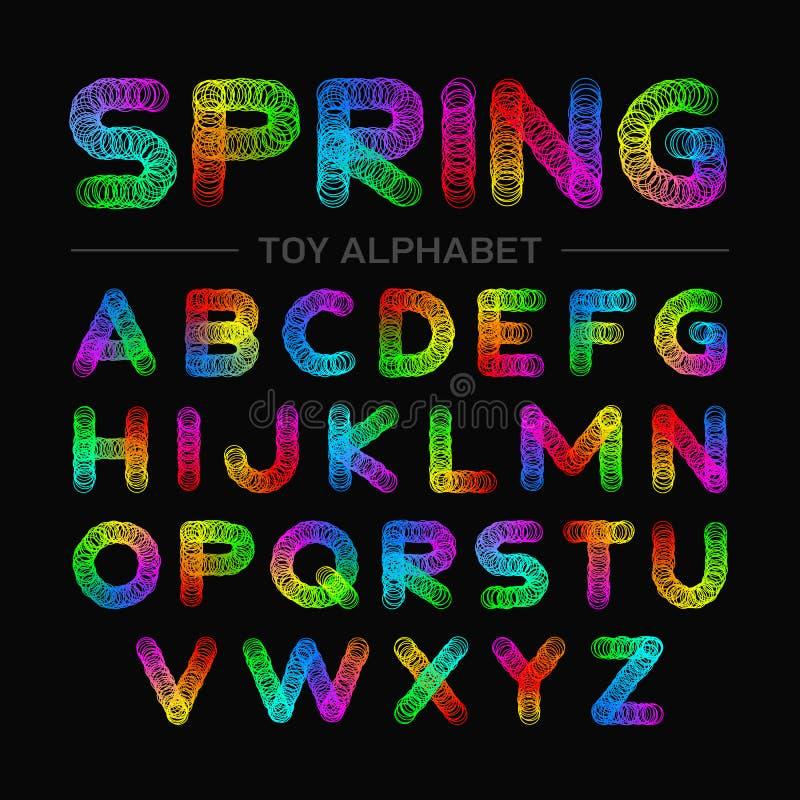 Alfabeto colorido do brinquedo da mola ilustração royalty free