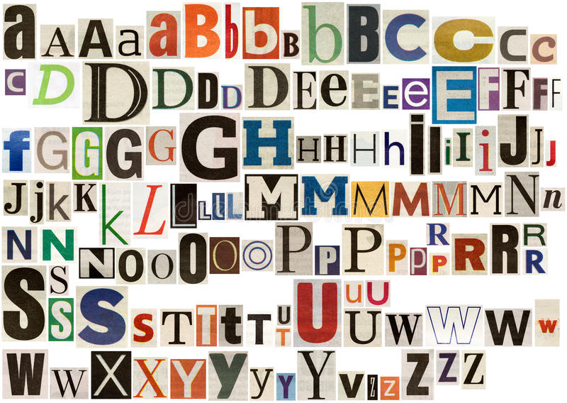Alfabeto colorido do jornal ilustração do vetor