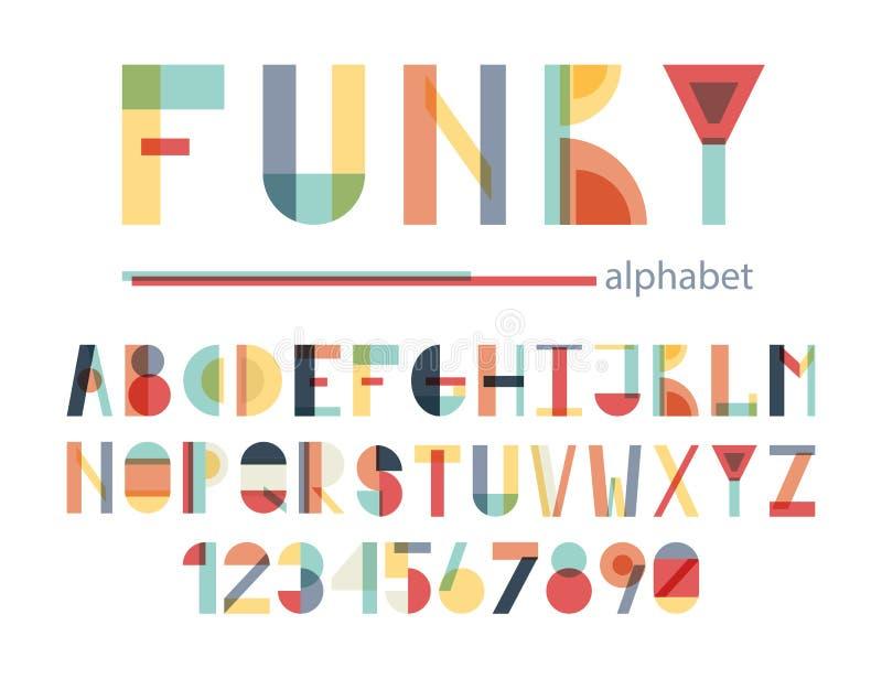 Alfabeto colorido funky ilustração stock