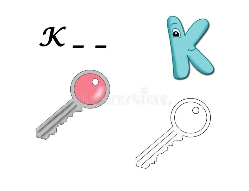 Alfabeto colorido - K ilustração royalty free