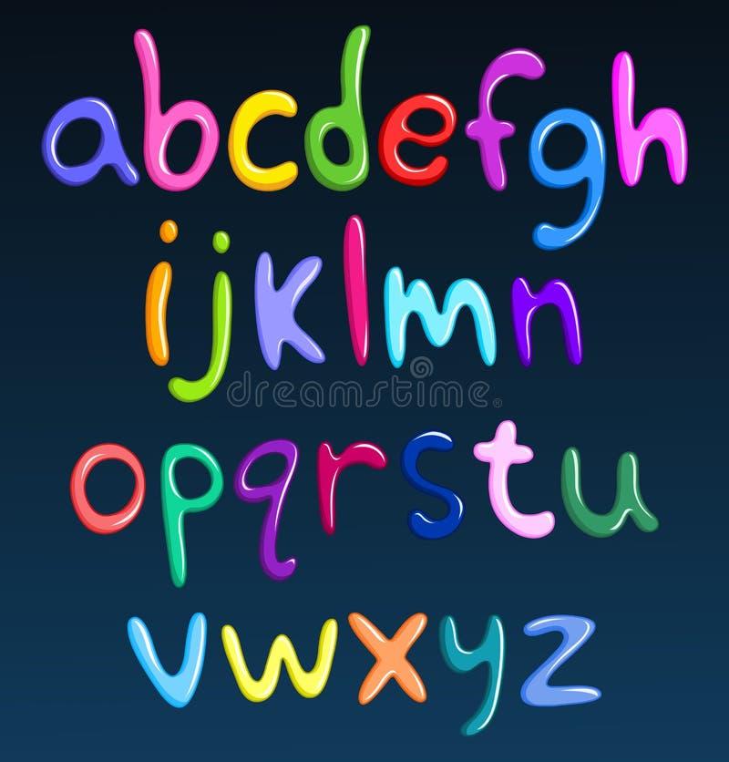 Alfabeto colorido lowercase do espaguete ilustração stock