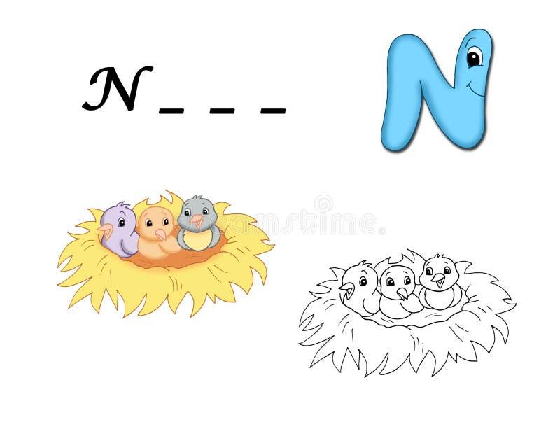 Alfabeto colorido - N ilustração royalty free