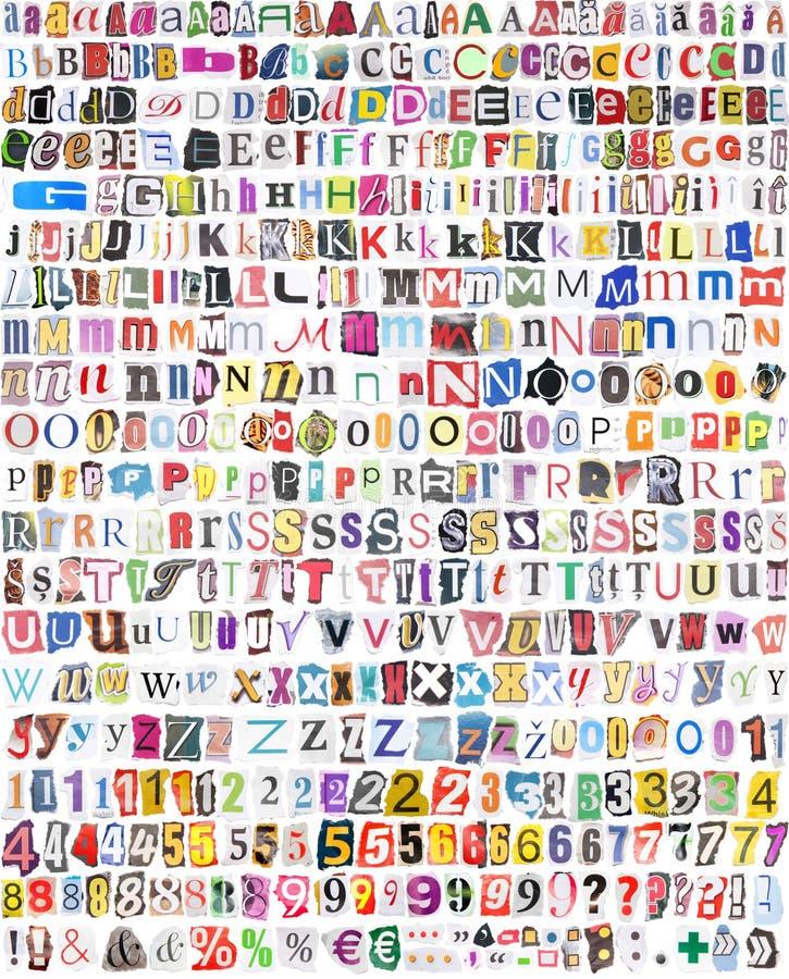 Alfabeto com 516 letras, números, símbolos ilustração do vetor