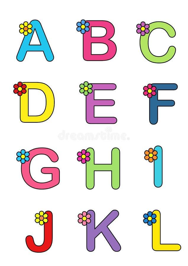 Alfabeto com a flor 1 ilustração do vetor
