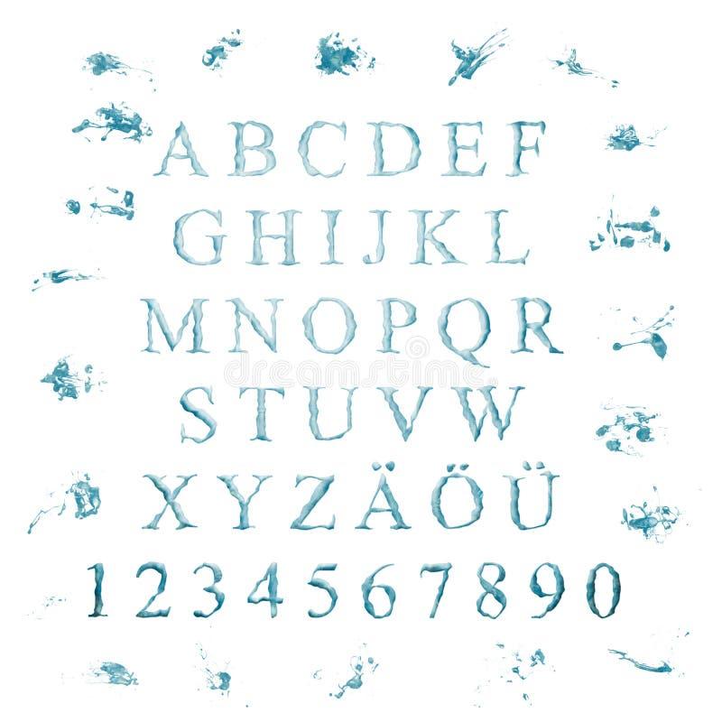 Alfabeto com letras da água ilustração royalty free