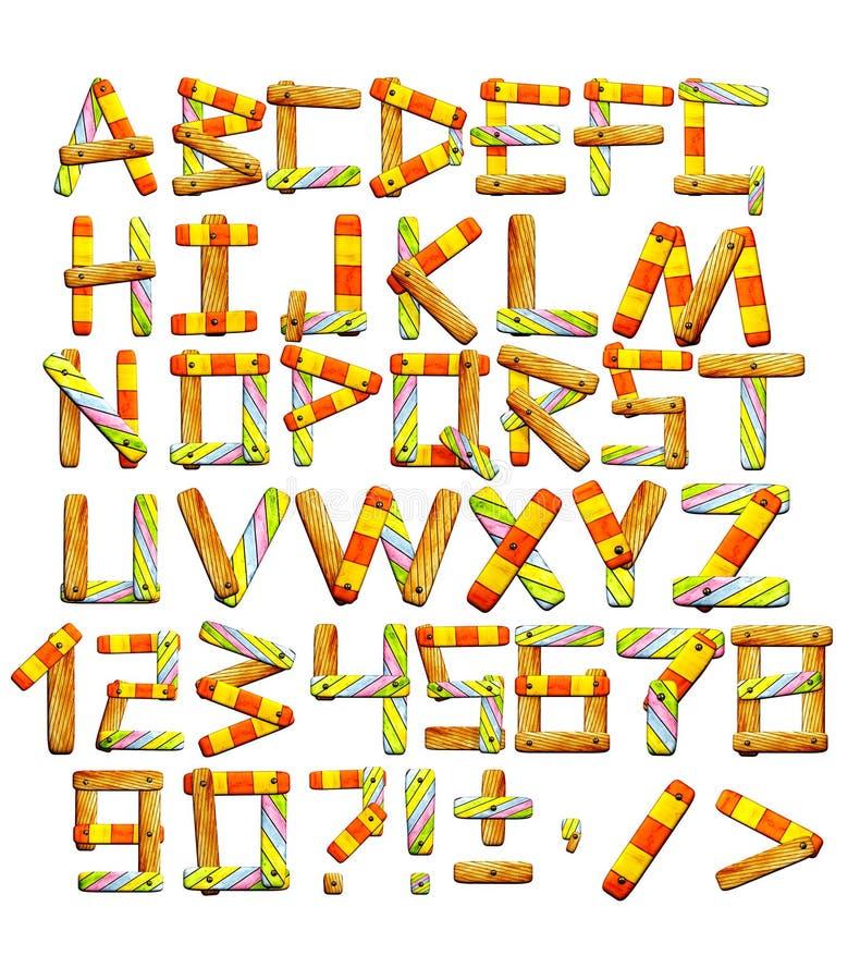 Alfabeto com letras das placas de madeira ilustração do vetor