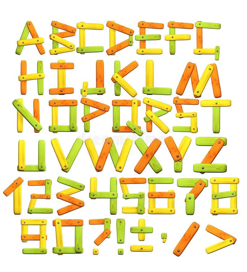 Alfabeto com letras das placas de madeira ilustração royalty free