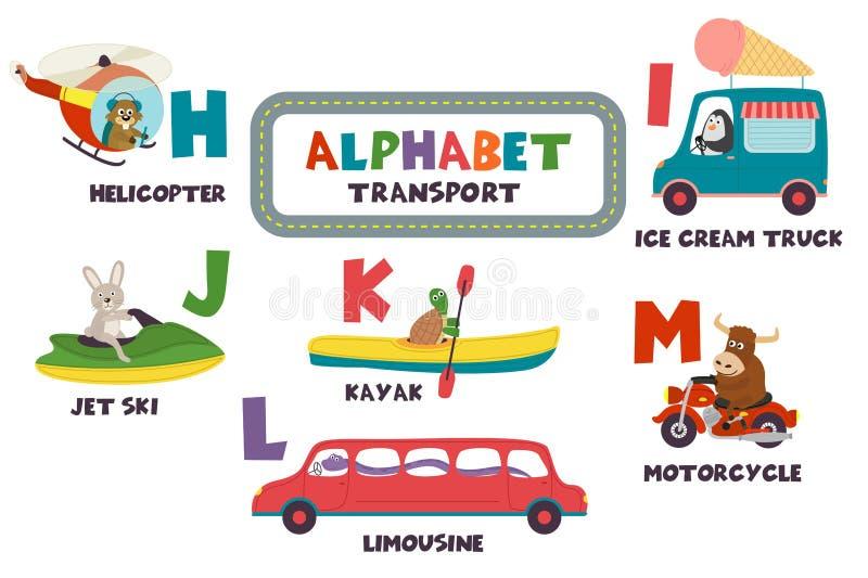 Alfabeto com transporte e animais H a M ilustração royalty free